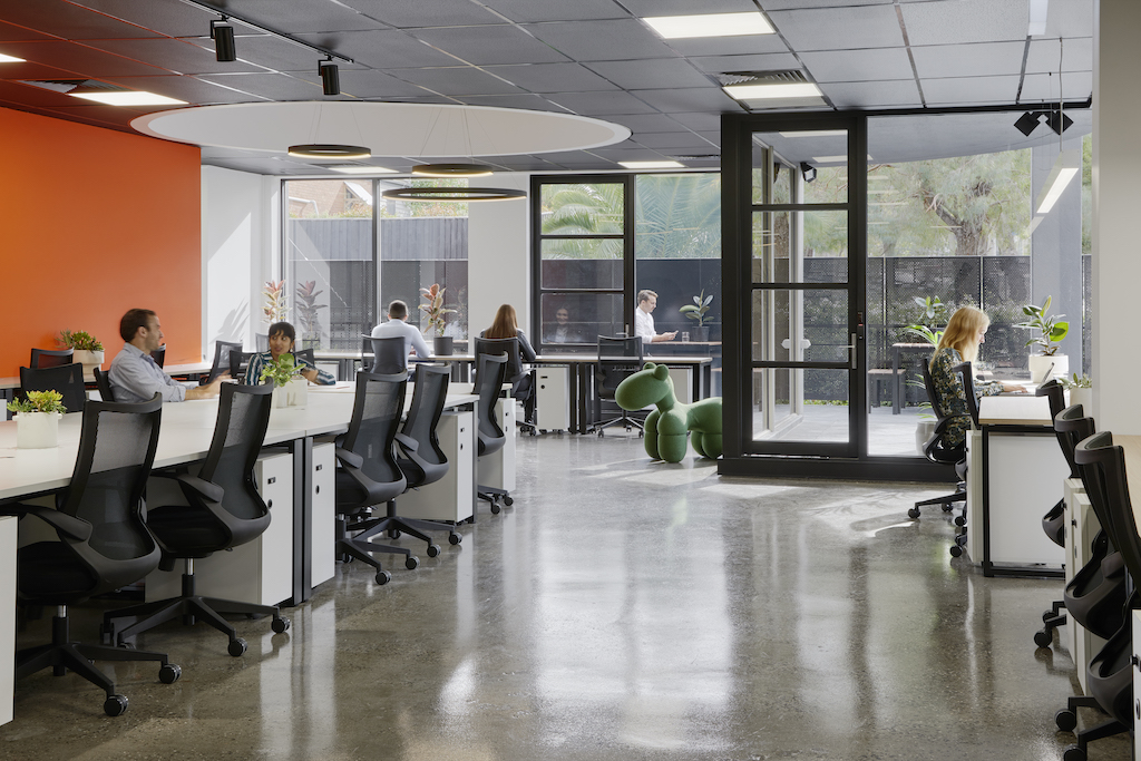 People working in coworking space