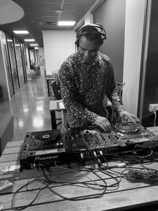 DJ spinning tunes at CoWork Me